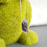Raw Amethyst Necklace Long Silver Chain Gemstone Crystal Necklaces
