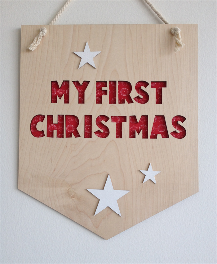 My First Christmas Wooden Hanging Banner White Stars Goodies In