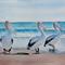 """Pelicans, PRINT, Watercolour Painting -  8""""x 10"""" Ocean, Beach"""