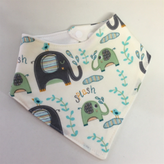 Organic Adjustable Baby Bandana Bib with Bamboo Fleece -  Elephant Splash