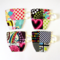 4 x Patchwork Fabric Cup Coasters - Neon Hearts