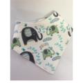 Organic Adjustable Baby Bandana Bib with Bamboo Fleece -  Elephant Splash