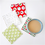 FREE POST - 4 x Fabric Christmas Coasters - Trees, reindeer, circles & Carols