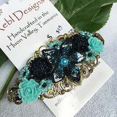 Floral Hair Barrette - Shades of Black and Blues