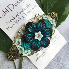 Floral Hair Barrette - Shades of Black and Teal
