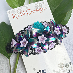 Floral Hair Barrette - Shades of Blue and purple