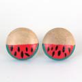 Watermelon Wood Stud Earrings