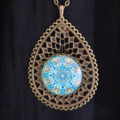 Blue Green Mandala Antique Bronze Pendant