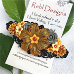 Floral Hair Barrette - Shades of orange and grey