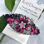 Floral Hair Barrette - Shades of Pink and Silver