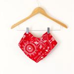 Twig Bandana Bib - Red Flannelette Print