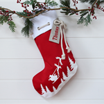 Large Personalised Christmas Stocking Red Santa Sleigh