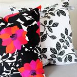 Twig Cushions for the Nest - Black / White Leaf Print