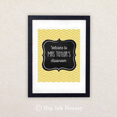 Printable Personalised 8x10 art. Teacher's Gift. Yellow Herringbone