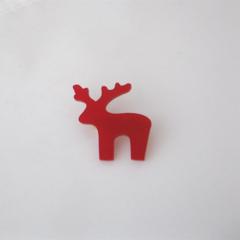 Little Red Reindeer Brooch. Acrylic Deer Brooch.