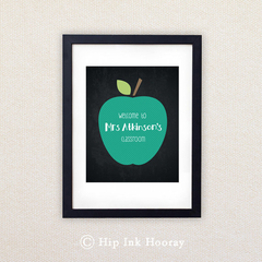 Printable Personalised 8x10 art. Teacher's Gift. Green Apple.
