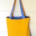 Mini Tote Bag - Daisy Blue & Sunny Yellow - Totally Reversible