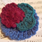 Crocheted hair clip made from pure wool, green, burgundy and blue