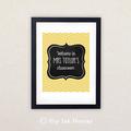 Printable Personalised 8x10 art. Teacher's Gift. Yellow Herringbone