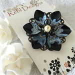Lotus Flower Brooch - Black and White
