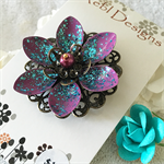 Lotus Flower Brooch - Purple and Glittery Teal