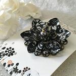 Lotus Flower Brooch - Black and silver baroque pattern