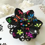 Lotus Flower Brooch - Neons and Black