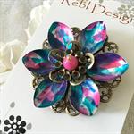 Lotus Flower Brooch - Purple Pink and blue splatter