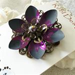 Lotus Flower Brooch - Purple and Matt grey