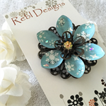 Lotus Flower Brooch - Glittery Pale Blue Snowflakes