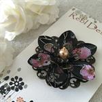 Lotus Flower Brooch - Black Pink and silver floral pattern