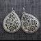 Silver Plate Flower Tear Drop Filigree~ Silver Earrings