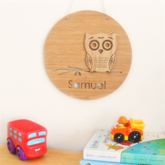 Custom Owl wall art bamboo nursery baby christening 1st birthday personalised