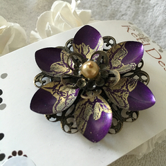 Lotus Flower Brooch - Purple and Gold