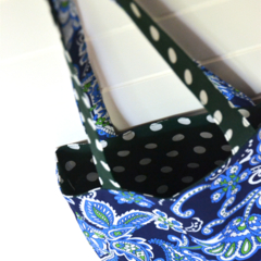 Mini Tote Bag - Polka Dots & Paisley - Totally Reversible