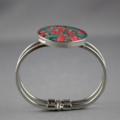 Women's round resin silver cuff bracelet bangle, red flowers, floral, art print