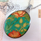 Upcycled/recycled vintage spoon resin pendant necklace, William Morris print