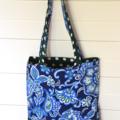 Mini Tote Bag - Polka Dots & Paisley - Totally Reversible