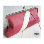 Raspberry & Bone leather clasp clutch