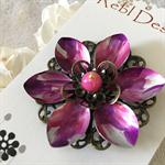 Lotus Flower Brooch - Pink and Purple