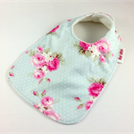 Infant Toddler Dribble Feeder Bib, Pink Roses Cotton Fabric, Bamboo Toweling.