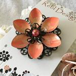 Lotus Flower Brooch - Orange Sherbet