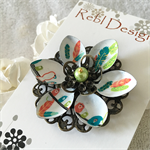 Lotus Flower Brooch - Lime green, Blue and Teal Birds and Feathers
