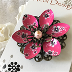 Lotus Flower Brooch - Hot Pink with Black and white flowers