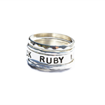 Personalized Sterling Silver stcking Ring set