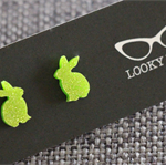 Glitter Lime Bunnies~Laser Cut Acrylic Stud Earrings