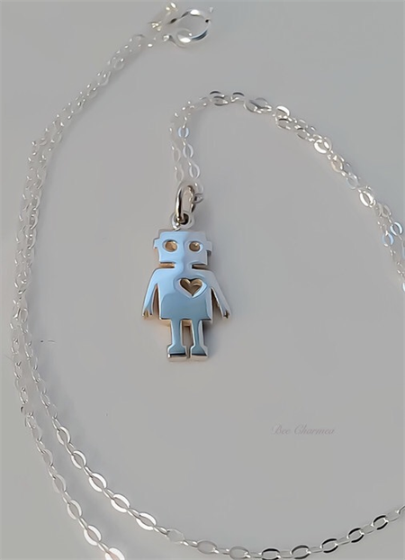 Sterling silver robot necklace