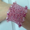 Beautiful Hand Beaded Cuff Bracelet in Shades of Pink