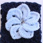 Crochet Navy Blue Headband with Pale Blue Flower detail
