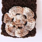 Crochet Brown Headband with Flower detail